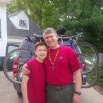 Tom and Matt all loaded up and ready for the BSA Troop 228 Katy Trail trek.