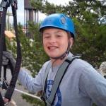 Tom getting ready to zipline.